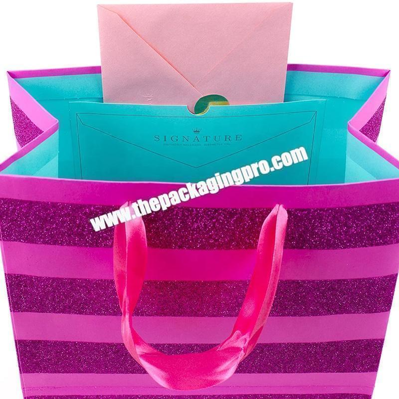 Custom logo 100% Recyclable shopping gift kraft paper grocery bag purple kraft paper bag with handle