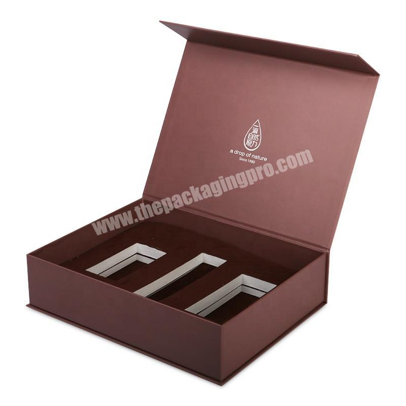 custom logo book shape small gift box brown gift box with frosted EVA insert holder