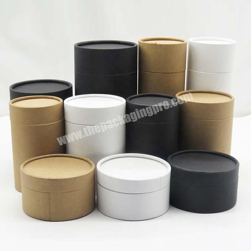 Custom Logo Cylinder Packaging Box Black White Kraft Cardboard Personalized Tea Box Paperboard Tube Cheap Paper Box