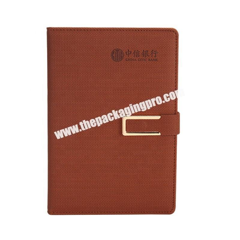 Custom Logo Deboss Emboss Hot Stamping Fabric Cover PU Leather A5 Pen Loop Magnetic Clasp Diary Agenda Business Journal Notebook