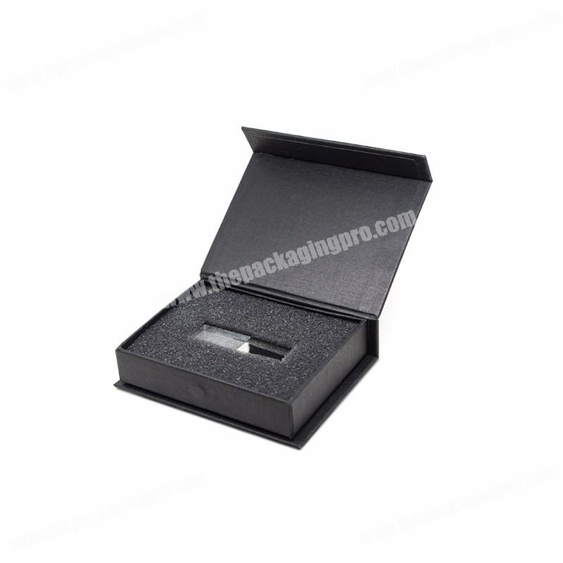 Custom logo foil stamping luxury magnetic closure wedding usb photo gift box