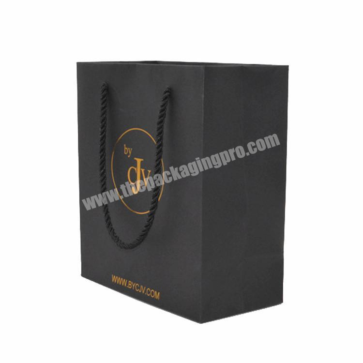 Custom logo luxury black recycled foldable jewelry gift packaging  handle shopping retail kraft paper bagwith gift packaging