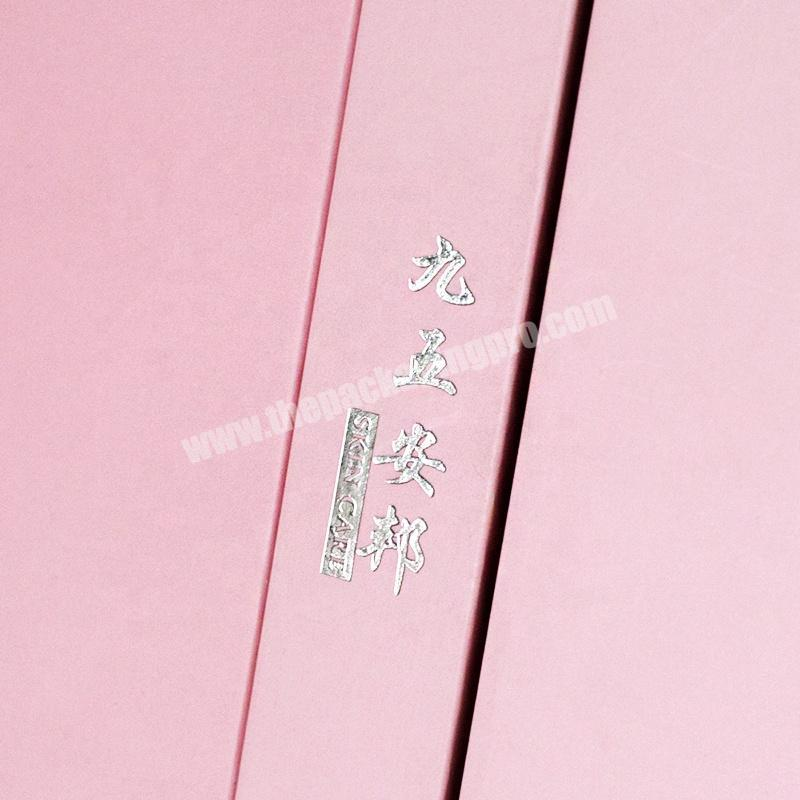 Supplier Custom logo pink flip top cosmetic makeup product cardboard gift box packaging with foam insert