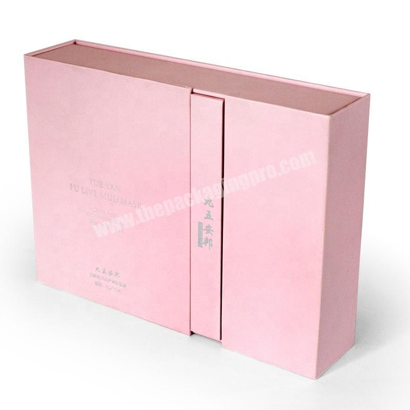 Factory Custom logo pink flip top cosmetic makeup product cardboard gift box packaging with foam insert