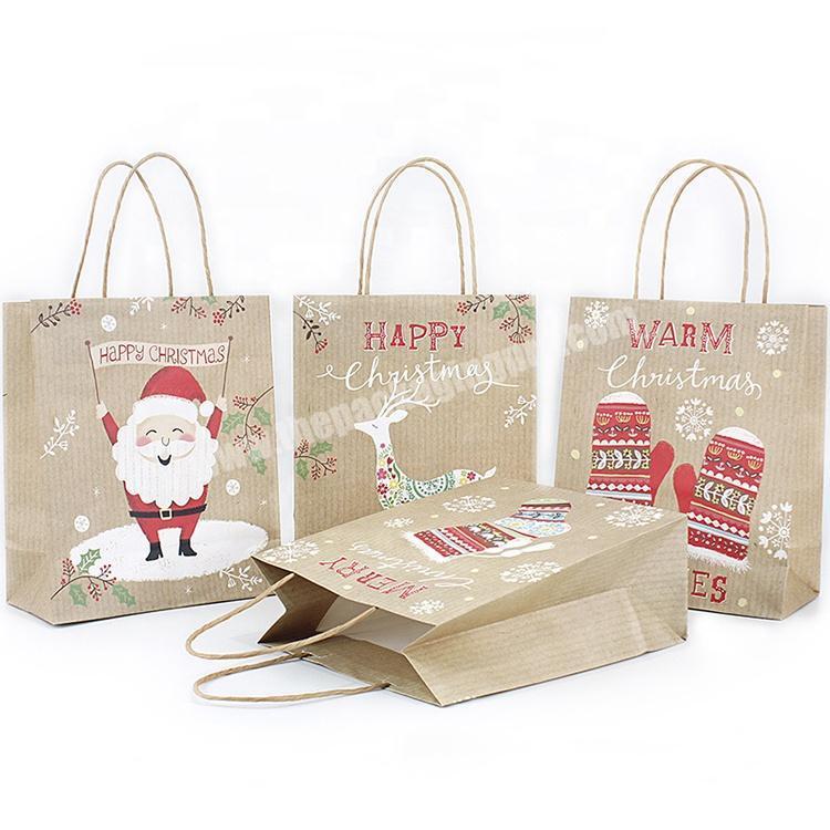 Custom logo printed brown kraft paper bag cartoon christmas gift paper bag