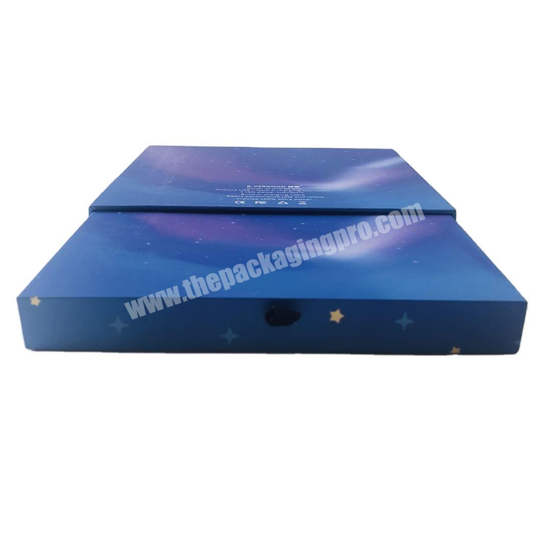 Custom logo printed fashion blue small packaging sliding cardboard drawer box for Jewelry gift