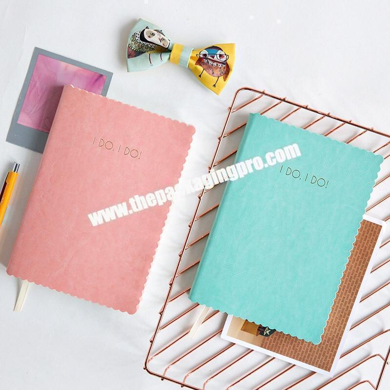 Custom Logo Printing Cute Love Diary Student Office Business Journal Embossed PU Leather Cover Notebook With Ribbon Bookmark