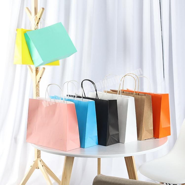 Custom Logo Shopping Packaging Bag Wholesale Eco Solid Color Cheap Paper Gift Bag