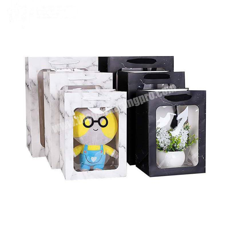 Custom logo wholesale portable Transparent window paper bag with portable rope