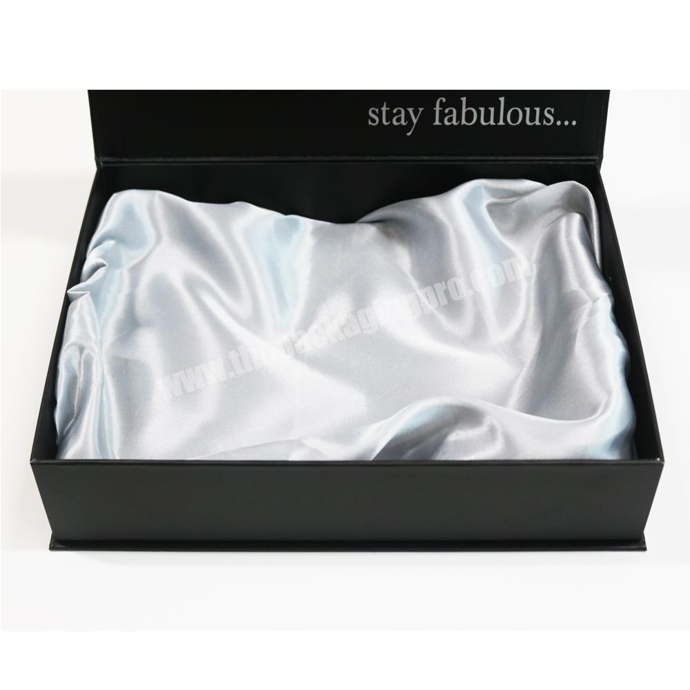Factory Custom Luxury Packaging Matte Black Clamshell Gift Boxes with Stain Silk