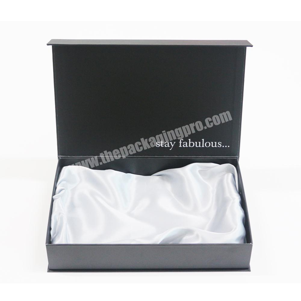 Manufacturer Custom Luxury Packaging Matte Black Clamshell Gift Boxes with Stain Silk