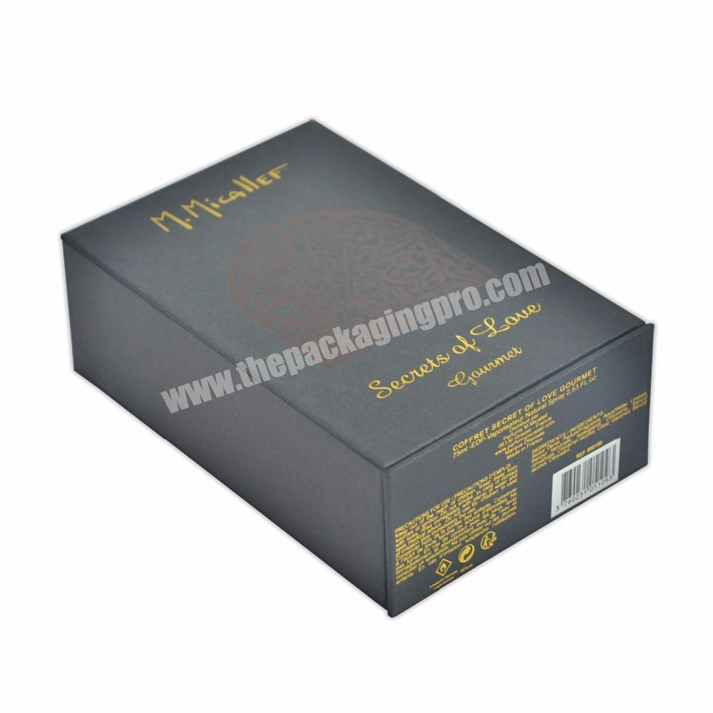 Custom Luxury Perfume Black Paperboard Paper Type Foil Packing Boxes