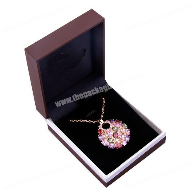 Custom Luxury Printing Fancy Paper Velvet Flocking Lined Jewelry Necklace Box Packing