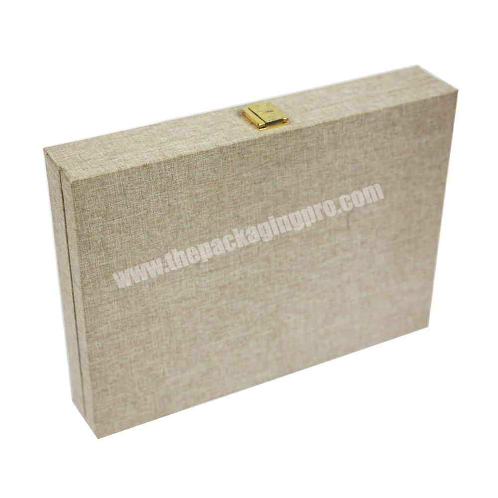 Custom luxury wooden packaging wood box with linen finish paper