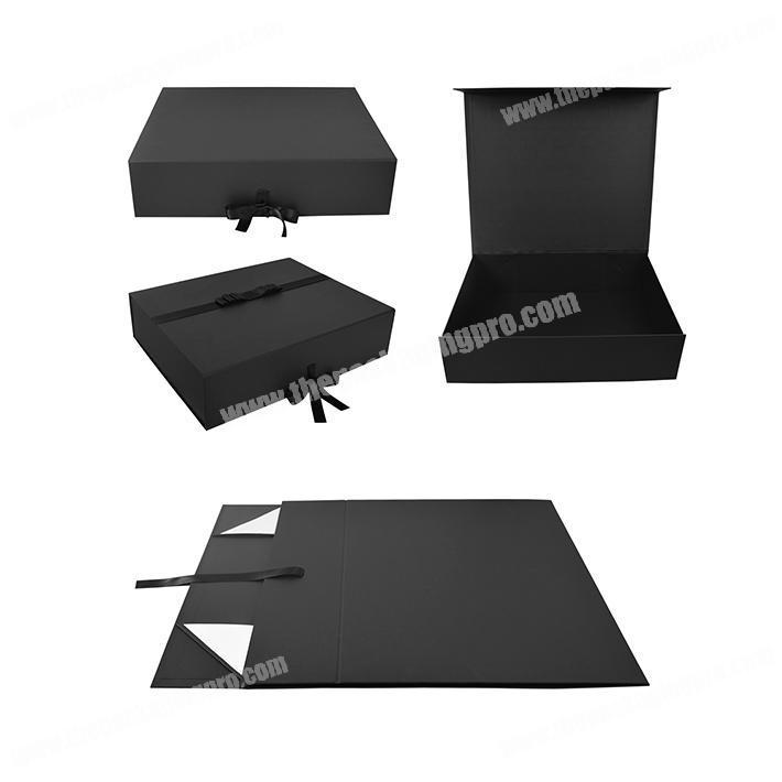 Custom Matt Foldable Packaging Black Collapsible Magnetic Folding Gift Box