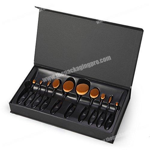 Custom Matte Black Packaging Cosmetic Makeup Brush Set Box