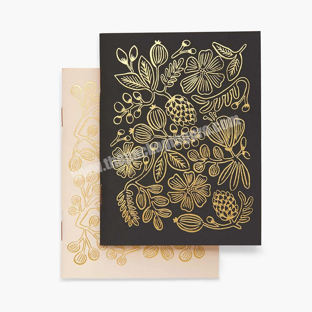 Custom Metallic Gold Foil Saddle Binding Student Exercise Blank Paper Notebook Set Diary Note Book