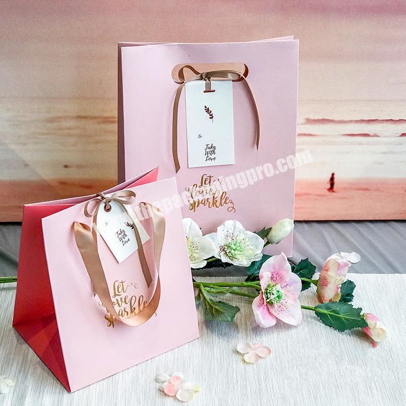 Custom pink flower gift bag