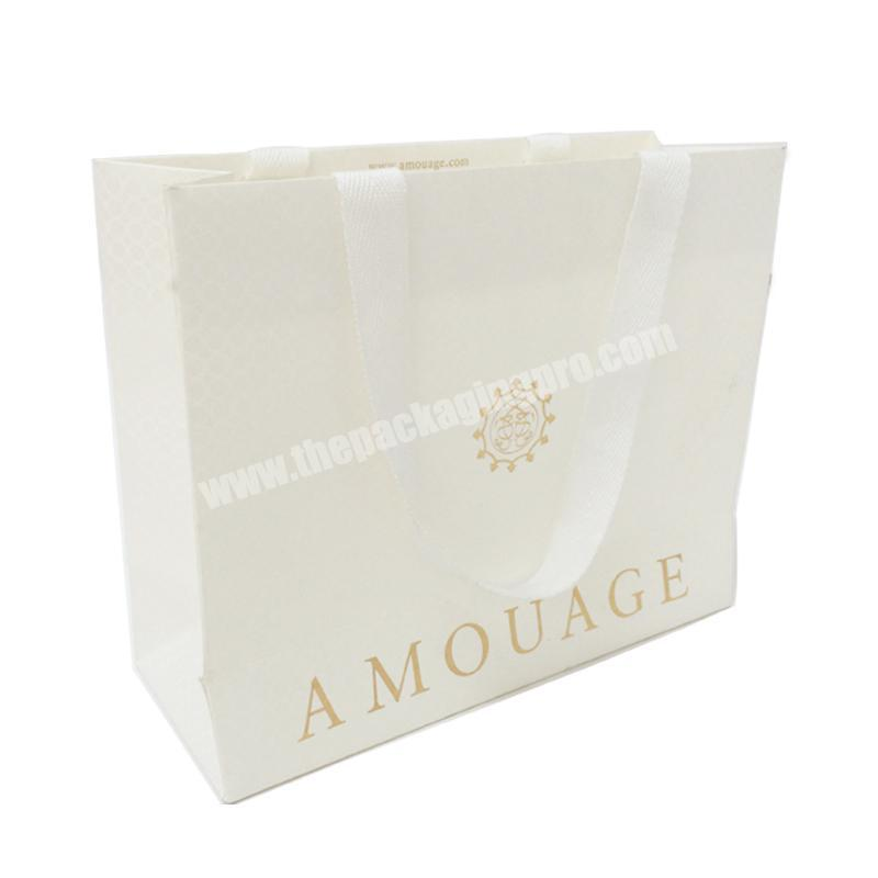 Custom Printed Gold Stamping Luxury Folding White Shopping Paper Bag With Handles