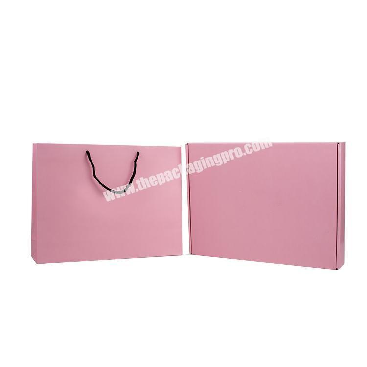 Custom Printed Personalized Pink Matte Laminated Retail Shopping Gift Paper Bags With Handle