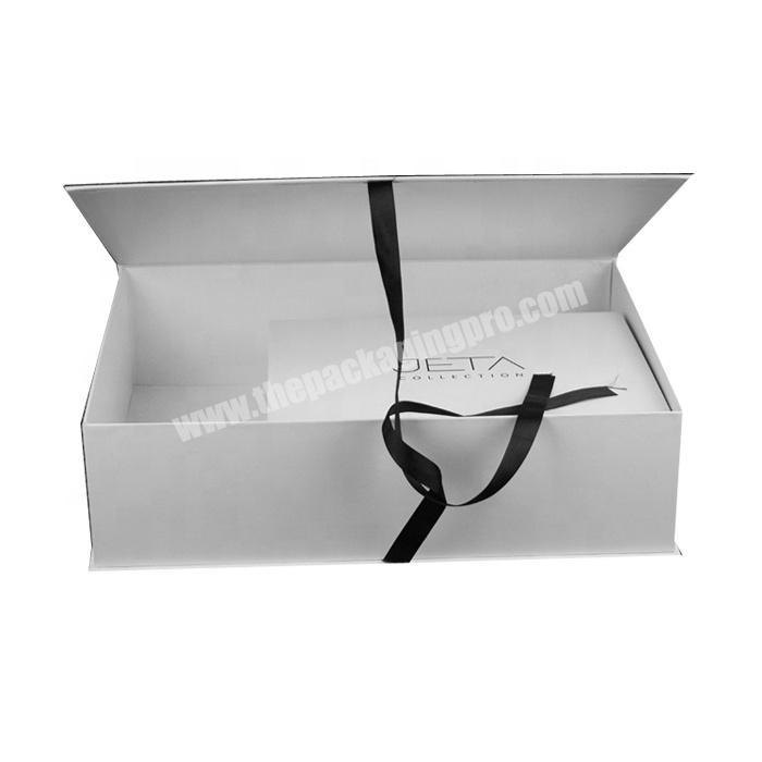 Custom printed rigid gift box with clamshell lid and ribbon tie