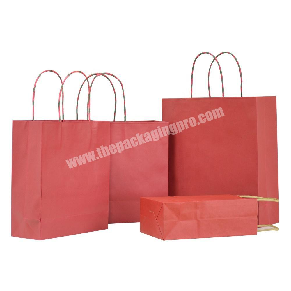 Custom Printed Shopping Recycle Carry Treat Paper Bags Packing Christmas Paper Gift Bag