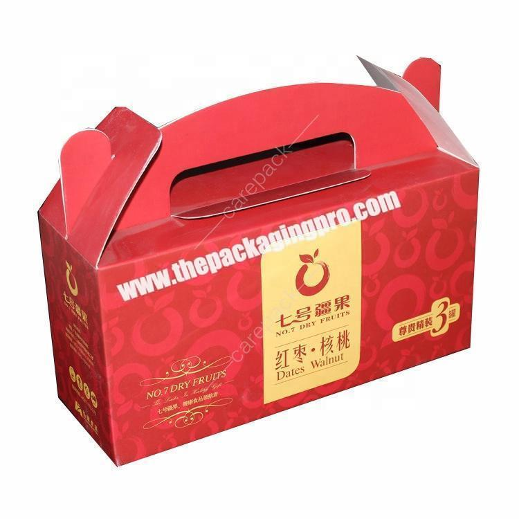 Custom Printing Corrugated paper Mailing Box Foldable Fruit Packaging Box with Handle