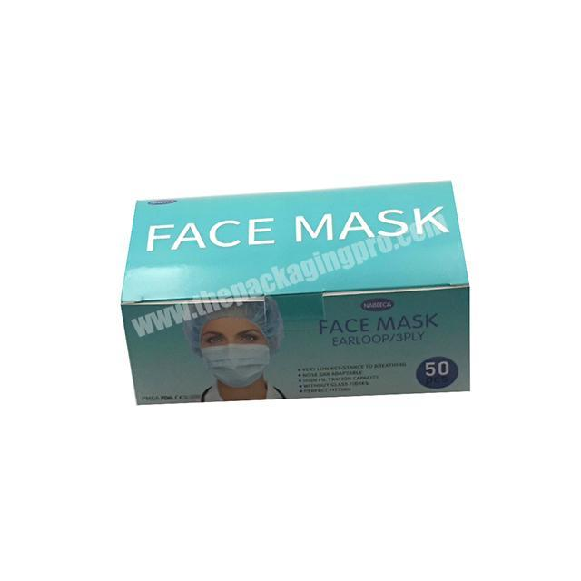 Custom Printing Disposable Paper Disposable Surgical Personal Protection Face Mask Packaging Box