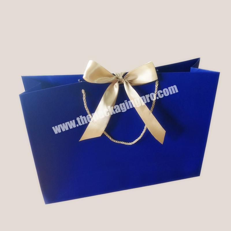 custom retail Hot high quality bowed ribbon pp rope handle gift shopping clothing packaging bag eco friendly