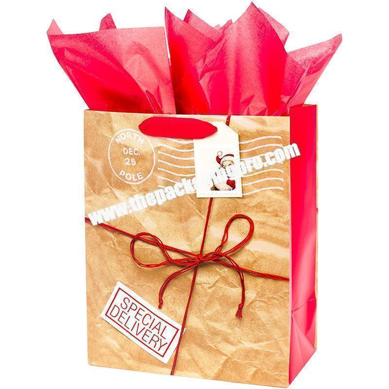 Custom Shopping Christmas Sacks Bags Paper Gift Bags
