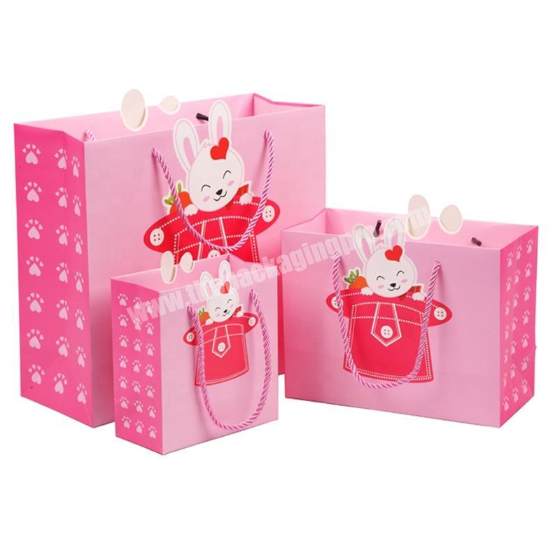 Custom Size Pink Printed Lovely Design Animal Shape Kids Gift Paper Bags Christmas Birthday Baby Clothes Packaging Bags