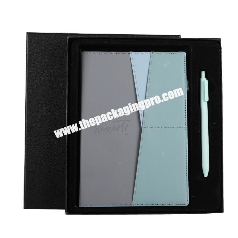 Custom Stationery Luxury Refillable Ring Binding Notebooks Gift Set Business Office  Pu Leather Notebook With Box And Pen