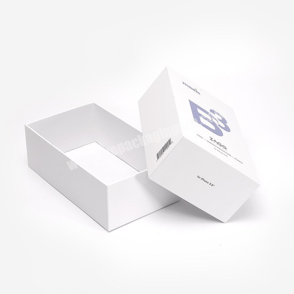 Custom UV Logo Recyclable 2 Pieces Cardboard Packaging Lid And Base White Phone Paper Gift Box