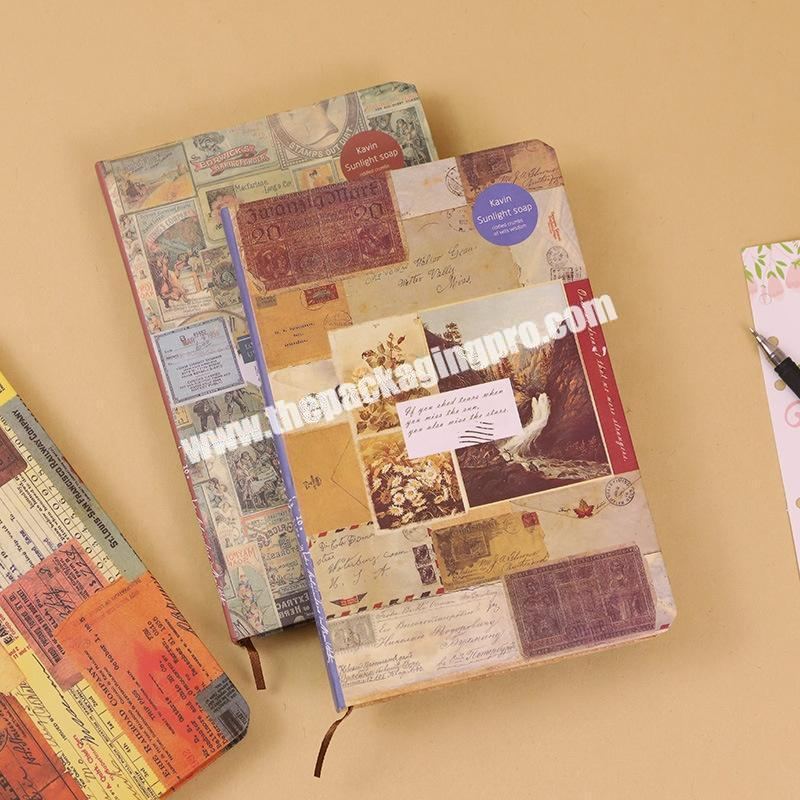 Custom Vintage A5 A6 Writing Plain Journals Notebooks Printed Hard Cover Paper Travelers Notebook Agenda With Divider Tabs