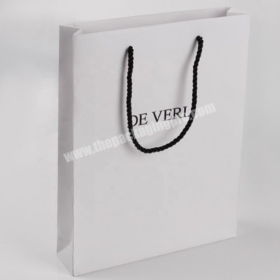 Factory custom white jewelry merchandise paper bags with logo
