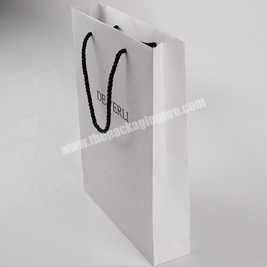 Wholesale custom white jewelry merchandise paper bags with logo