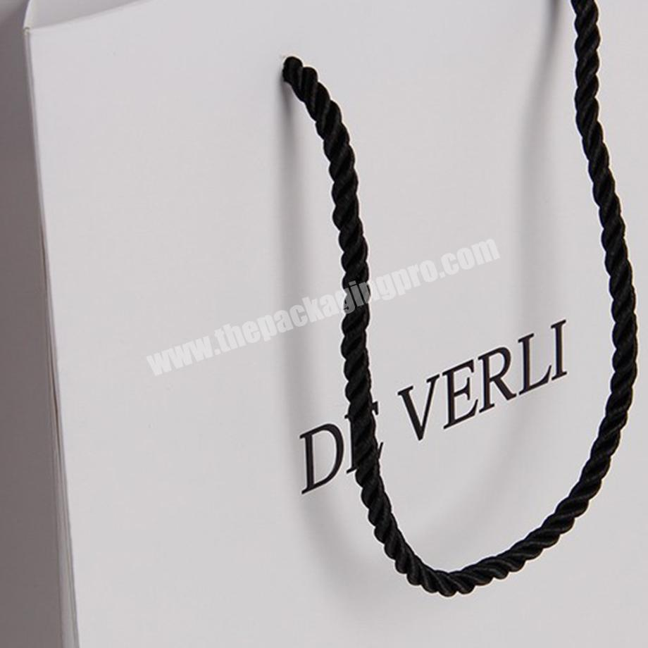 Manufacturer custom white jewelry merchandise paper bags with logo