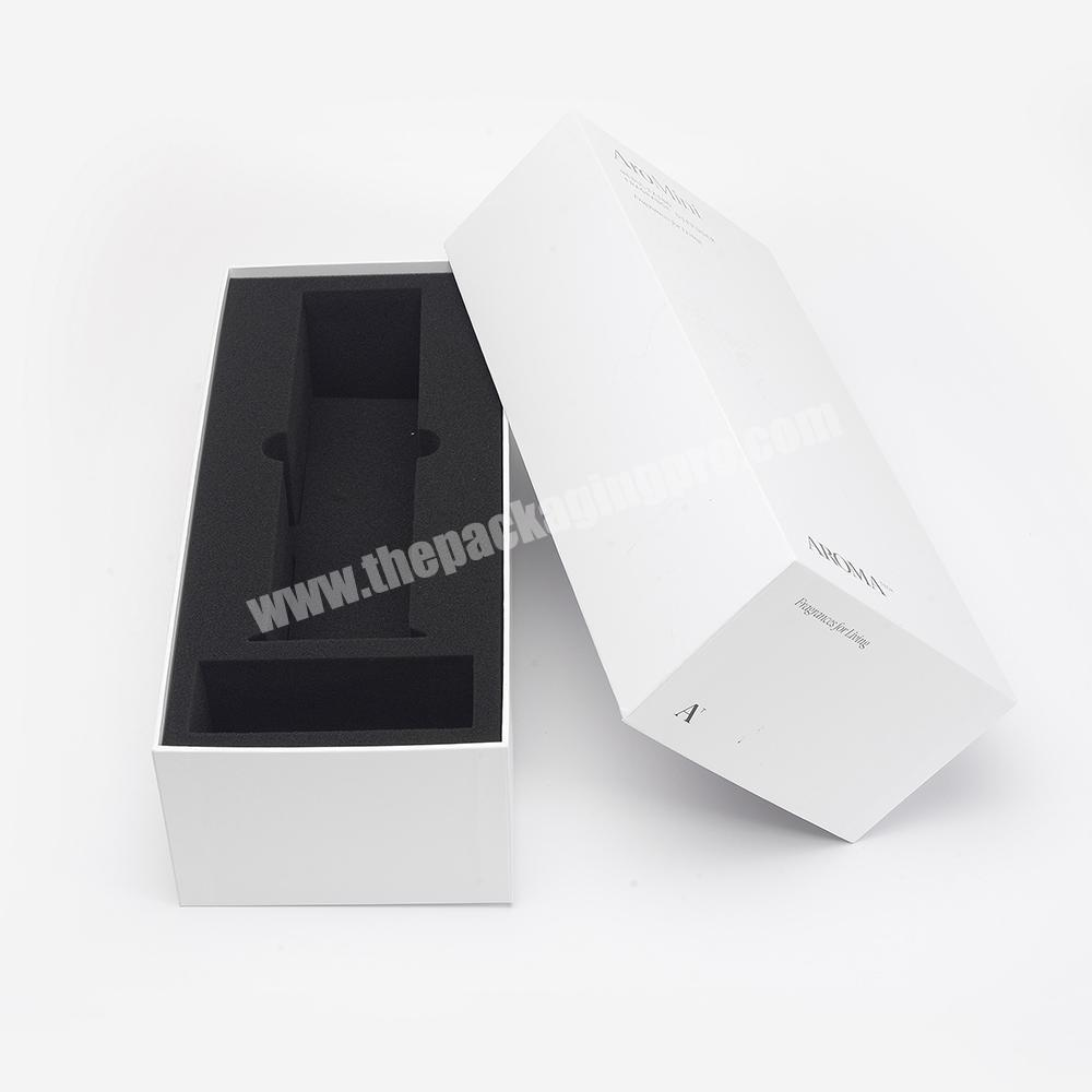 Custom White Matt Lamination Base And Lid Electronics Wine Packaging Cardboard Gift Box With Sponge