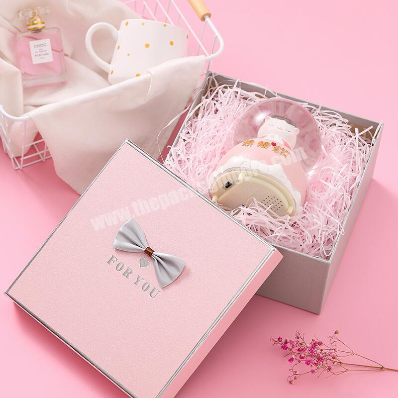 Factory Customization gift size hot stamping pink color essential oil boxes pack silver plating packing perfume boxes with Bow