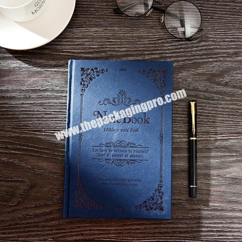 Manufacturer Customized A4 A5 A6 Hardcover Magic Notebooks Traditional Lined Hardback Journal Blue Engraved Embossed  PU Leather Notebook
