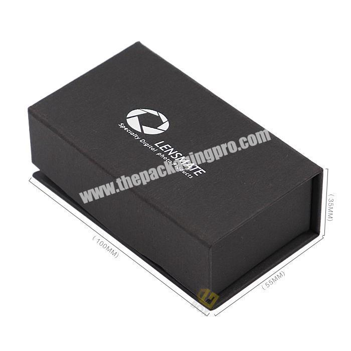 Customized Black Special Paper Silver Hot Stamping Logo Cardboard Magnetic Makeup Brushes Safe Paper Box