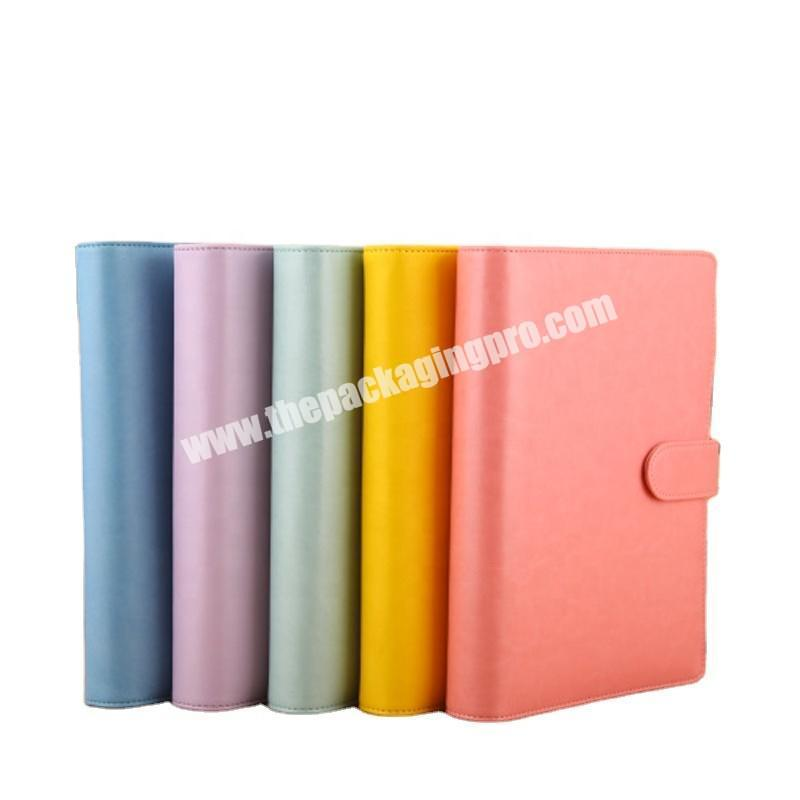 Customized Cute Fancy A4 A5 A6 B5 PU Vegan Leather Notebook Pen Loop Inner Pocket Buckle Magnetic Closure Daily Weekly  Planner