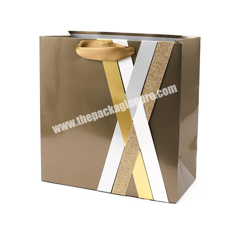 Customized design Luxury Gold Foil Printed Gift Custom Shopping Paper Bag With Your Own Logo