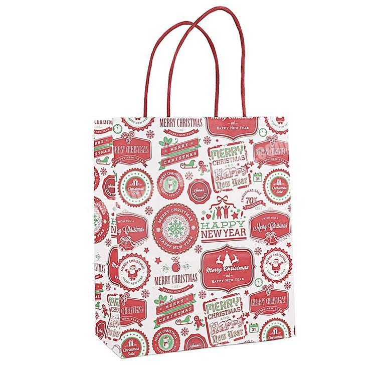 Customized Gift Paper Bag Eco Friendly Shopping Bags  Christmas Gift Bag With Handle