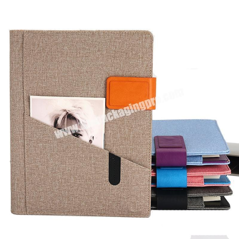 Customized Hardcover Front Pocket Agenda Business Office Lock 365 Diary Notebook 6 Ring Binder Pu Leather Magnetic Notebooks