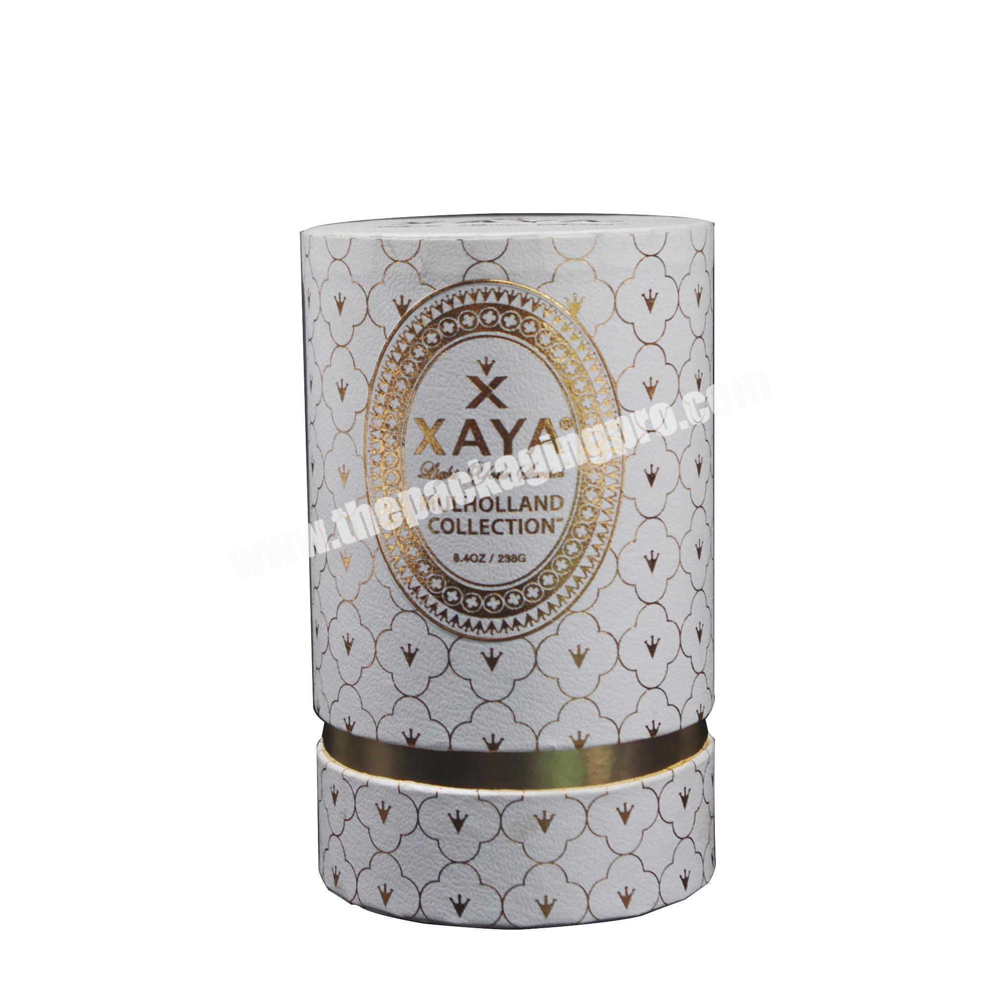 Customized Hot stamping round tube paper box for perfume,candle