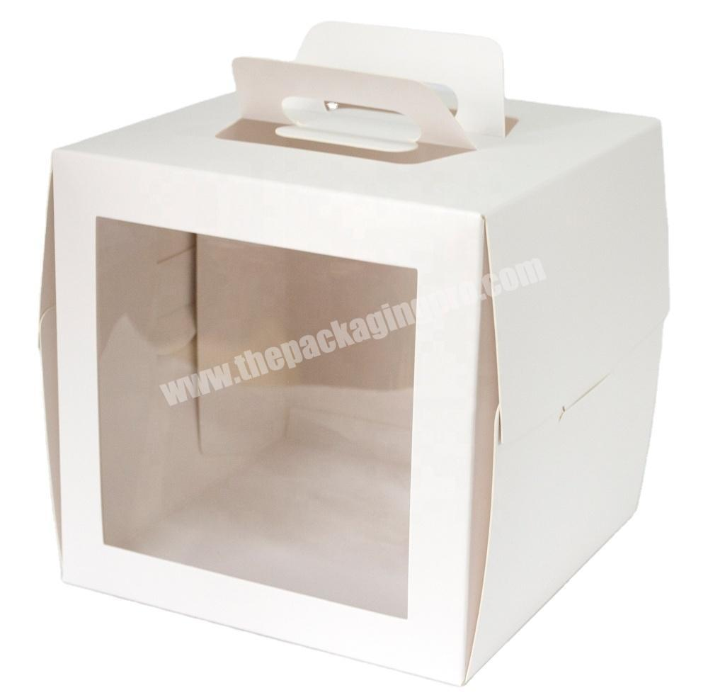 customized logo and dimension cake packaging paper gift box with clear pvc window