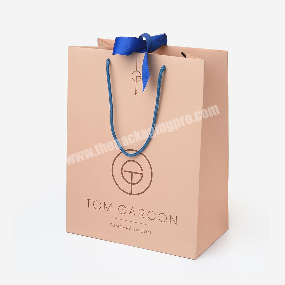 Customized Logo Print Large Luxury Cosmetic Thick Shopping Packaging Paper Bag with Handle