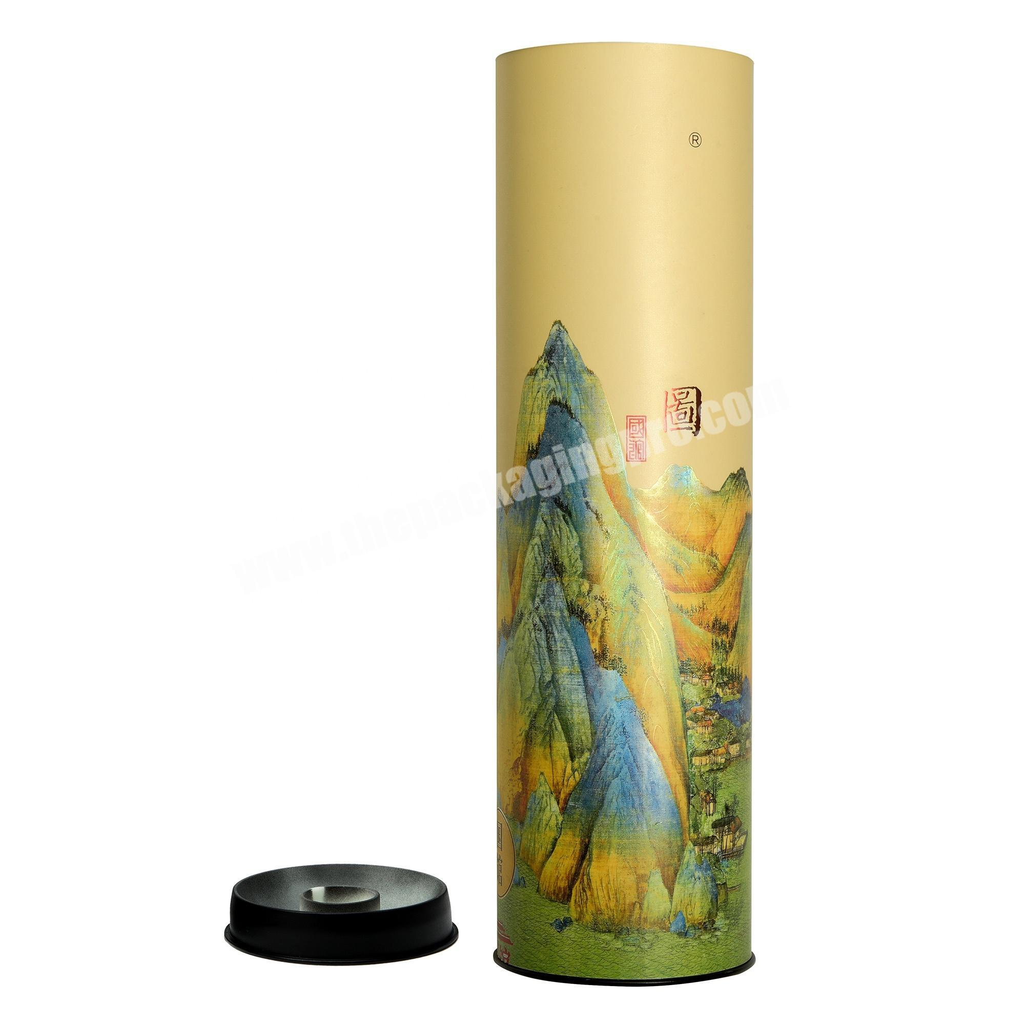 Customized Oval Round Cylinder Tube Paper Box with Tin Cap for Wine Tea Sticks Gifts