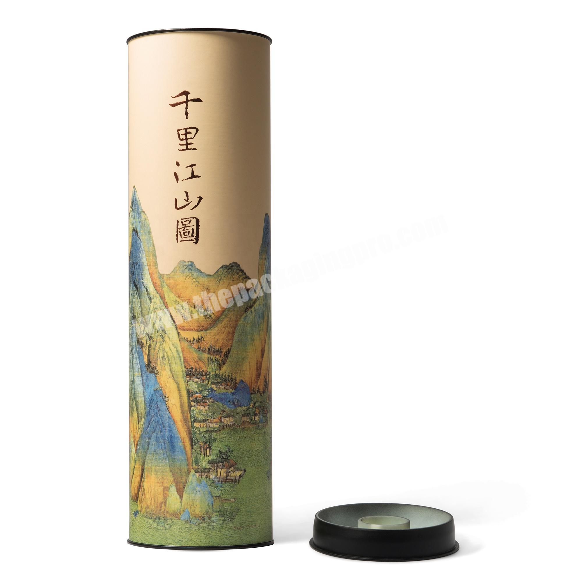 Wholesale Customized Oval Round Cylinder Tube Paper Box with Tin Cap for Wine Tea Sticks Gifts